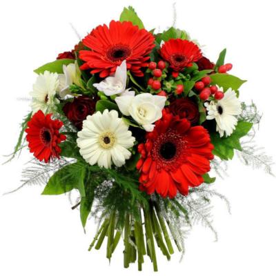 Bouquet rond rouge et vert